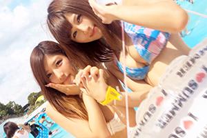 【ナンパTV】プールサイドで見つけた2人組の水着ギャルをホテルでまとめてハメ撮り