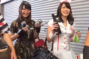 【素人】一晩でコスプレギャルを9人食ったハロウィンの渋谷ナンパ!