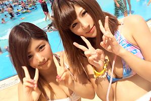 【素人ナンパ】練馬区のプールでゲットした即ハボ女子大生と3P!