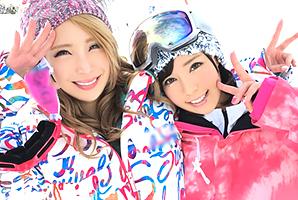 2人とも超カワイイ!スキー場でナンパしたノリのいい爆乳ギャル