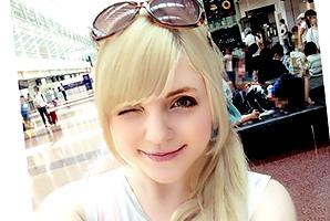 【素人】日本の玄関口、羽田空港でパツキン美少女をナンパ!透き通る薄ピンク色マ×コをズボズボハメる!